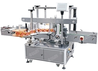Automatic flat bottle double side labeling machine